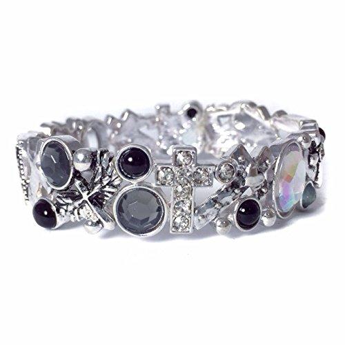 Silver Tone Rhinestone Sideway Cross Black Grey Stones Bling Stretch Bracelet
