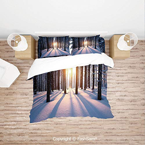 FashSam Duvet Cover 4 Pcs Comforter Cover Set Mystic Appearance of Sunset in Woodlands with Freezing Nature Artwork for Boys Grils -