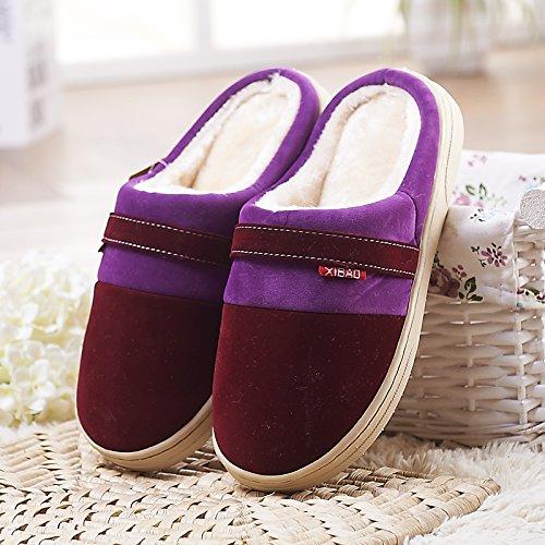 Fankou pavimenti in legno cotone pantofole femmina spesso anti-slittamento inverno caldo coppie scarpe indoor home soggiorno home pantofole ,37/38, caffè di luce