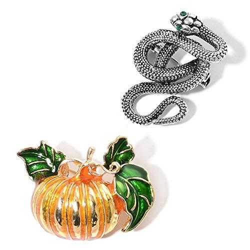 Halloween Austrian Crystal, Enameled Doultone Set Snake & Pumpkin Brooches KS-391