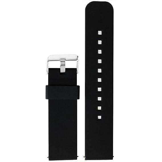 22mm Replacement Soft Straps Bands for Pebble Time/Gear S3/Asus Zenwatch 2 Big/Mens Fossil Q Explorist Gen 3 Smartwatch (Black)