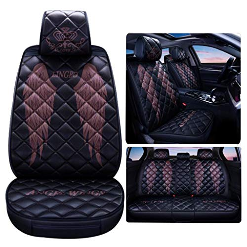 ADHW Luxury Car Seat Cover,Universal Leather Elegant Cushion Waterproof Nonslip Side Airbag Compatible for 5-Seats, 10 Pieces (Color : Brown)
