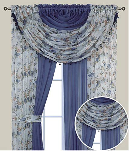 Elegant Home Complete Window Sheer Curtain All-in-One Set with 4 Panels and 2 Valances and Two Tiebacks for Living Room, Dining Room, Or Any Other Windows- Laura (Blue Rose/Blue Solid)
