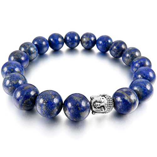 INBLUE Men,Women's 12mm Alloy Energy Bracelet Link Wrist Energy Stone Blue Silver Tone Buddha Mala Bead (Blue Tone Silver Bead)