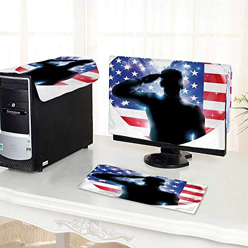 Flat Screen Protector 3 Pieces July Decor Funny French Bulldog with Sunglasses in American Costume Hiding Graphic Art Anti-Static Vinyl /28