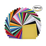 Arts & Crafts : 40 Pack 12'' X 12'' Premium Permanent Self Adhesive Vinyl Sheets-Assorted Colors (Glossy,Matt,Metallic and Brushed Metallic) for Cricut,Silhouette Cameo,Craft Cutters,Printers,Letters,Decals