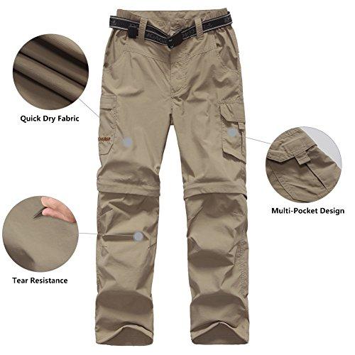 FLYGAGA Boy's Quick Dry Outdoor Convertible Trail Pants Khaki L