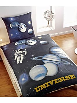2b3d1d21b16 Space  Universe  Single Duvet Cover - 100% Cotton + Wall Play  Solar ...