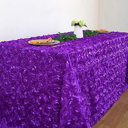 QueenDream Purple Rosette Tablecloth 90x132 Inches Purple Rose Pattern Tablecloth for Rectanglar Table