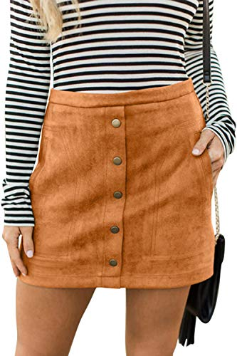 Meyeeka Women Classic High Waist Button Up Bodycon Faux Suede A Line Mini Pencil Skirt L Khaki