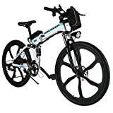 ANCHEER Folding Electric Mountain Bike, 26'' Electric Bike with 36V 8Ah Lithium-Ion Battery, Shimano 21 Speed Shifter (Folding Integrated Wheels-Black) (White)