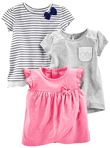 Pink Stripe Shirt Top - Simple Joys by Carter's Baby Girls' Toddler 3-Pack Short Sleeve Tops, Gray, Pink, Stripe, 5T