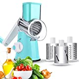 Manual Speedy Rotared Vegetable Cuber Fruit Cheese Nut Slicer Cutter Shredder Grinder Spiralizer,Hand Crank Dicer Chopper Veggie Pasta Salad Maker with 3 Changeable Stainless Steel Rotary Blades(Blue)