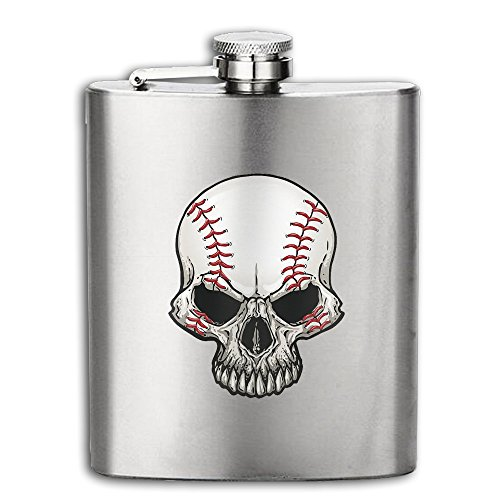 Baseball Skull 304 Stainless Steel Hip Flask Alcohol Flagon For Tourism,Camping 6OZ (Baseball 6 Ounce Flask)