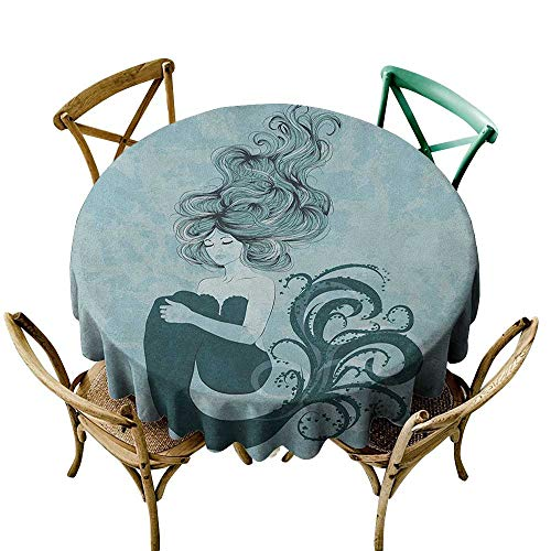 Price comparison product image Wendell Joshua Mermaid Tablecloth 50 inch Mermaid, Sleeping Mermaid Design with Wavy Hair Hand Drawn Effect Grungy Backdrop,  Pale Blue Dark Teal Kitchen Dining Room Restaurant Party Decoration