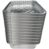 """TYH Supplies Small Disposable 7-1/2-Inch 5-inch BBQ Drip Pan Tray Aluminum Foil Tin Liners Grease Catch Pans Replacement Liner Trays 7.5"""" x 5"""" Bulk Package (50)"""