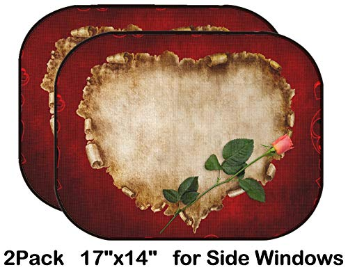 Liili Car Sun Shade for Side Rear Window Blocks UV Ray Sunlight Heat - Protect Baby and Pet - 2 Pack Heart Shaped Vintage Piece of Parchment with a red Rose on it Valentines Day Card