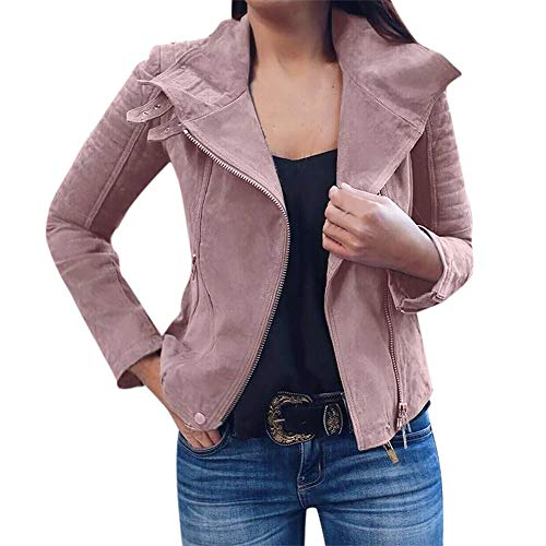 JESPER Womens Retro Rivet Asymmetrical Zip-up Bomber Jacket Casual Coats Short Outwear Pink ()