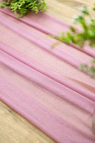 Ling's moment 32 x 120 inches Mauve/Dusty Rose Sheer Table Runner/Overlay Rustic Boho Wedding Party Bridal Shower Baby Shower Decorations by Ling's moment (Image #3)
