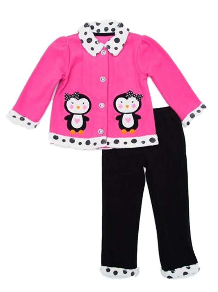 Young Hearts Infant Girls 2 Pcセットピンク&ブラックペンギンジャケット&パンツ18 Months   B00W8DR5BE
