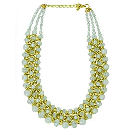 Collier Fantaisie en Métal Doré et Perles Synthétiques - 3 Rangs - Bijou de Soirée
