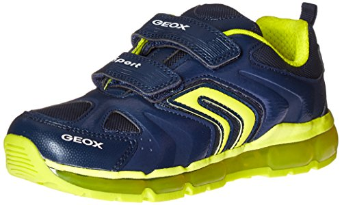 GEOX J Android Boy 9 Sneaker (Toddler/Little Kid/Big Kid), Navy/Lime, 33 EU(2 M US Little Kid)