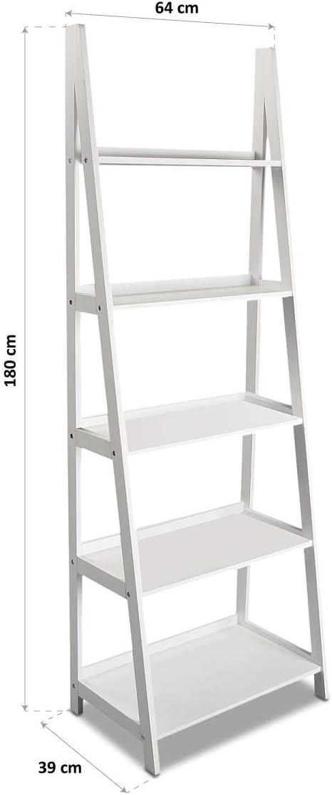 Versa 15810311 Estantería Librería Blanca 4 Estantes, Madera, 180 x 39 x 64 cm: Amazon.es: Hogar