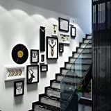 LQQGXL Photo wall stairs creative solid wood combination photo frame luxury wall decoration Photo frame ( Color : Black and White )