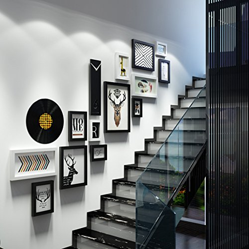 LQQGXL Photo wall stairs creative solid wood combination photo frame luxury wall decoration Photo frame ( Color : Black and White ) by LQQGXL