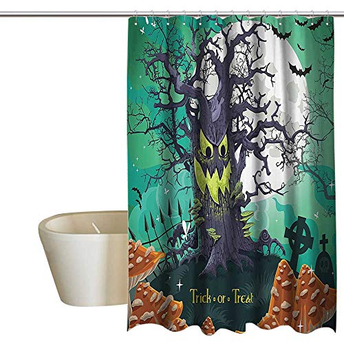 Halloween Hotel Style Shower Curtain Trick or Treat Halloween Theme Dead Forest with Spooky Tree Graves Big Mushrooms Kids Cartoon Mens Shower Curtain W72 x L72 Multi ()