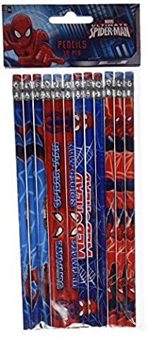 12-Piece Spider-Man Pencils, (Eraser Di Matita)