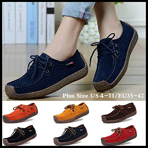 maket New Women Genuine Leather Newest Shoes Hand-Sewn Suede Leather Flats Cowhide Flexible Boat Newest Shoes Women Loafer(7,Black)