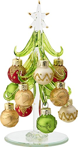 LSArts Glass Christmas Tree with Multicolored Gold Ornaments, Green, 6 Inch