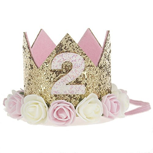 Golden Swallow 2nd Birthday Crown Baby Girl Flower Tiara Headband Party Hat Hairband -