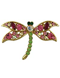 CRYSTAL GOLD PLATED DRAGONFLY PIN BROOCH MADE WITH SWAROVSKI ELEMENTS