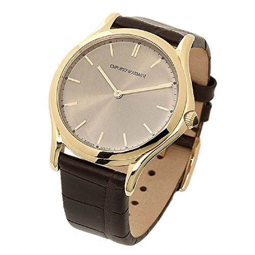 Emporio Armani Swiss Made Men's Swiss Quartz Stainless Steel and Leather Dress Watch, Color:Brown (Model: ARS2004)