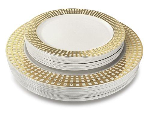OCCASIONS 240 Piece Pack Premium Disposable Plastic Plates Set - 120 x 10.25 Dinner + 120 x 7.5 Salad/dessert (240, Princess White/Gold)