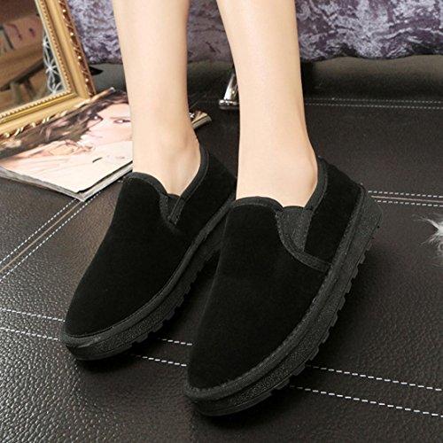 Ama (tm) Femmes Fourrure Plat Doublé Hiver Bottes Chaudes Neige Bottines Chaussures Paresseux Noir