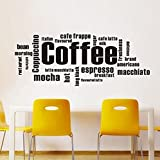 ColorfulHall Black 39.4'' X 15.7'' Kitchen Coffee Words Removable Vinyl Wall Decal Coffee Wall Quote Kitchen Wall Sign Wall Sticker For Shop Office Home Cafe Hotel