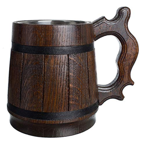 MyFancyCraft Wood Beer Mug 0.6L 20oz with Gift Box Stainless Steel Cup Men Eco-Friendly Souvenir Handmade Retro -
