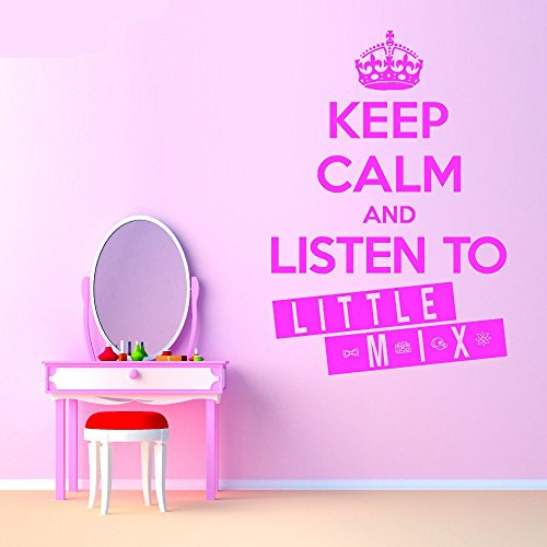 Peel and Stick Removable Wall Stickers Keep Calm and Listen to Little Mix for Girls Room