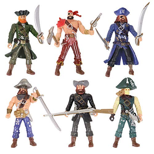 HAPTIME 6 Pcs Pirates Action Figure Playset with 6 Weapons / Sea Rover Pirate Men Toy (Each 3.75 inch Tall ), Great for Boys Kids Children as Birthday,Christmas Day, Carnival Fun Gift
