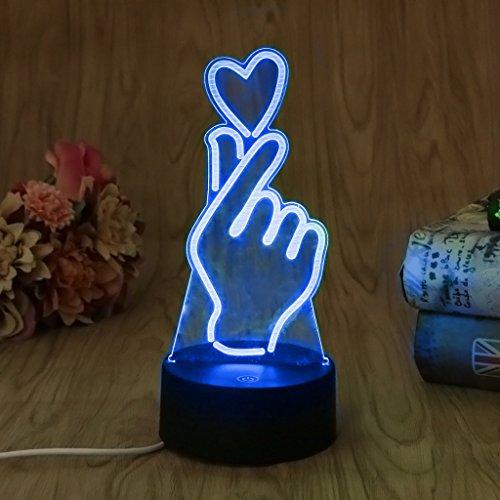 3D Lamp Room Bedroom Decorative Illusion Night Light, LIYUDL Finger Heart Multi 7 Color Change USB Cable LED Desk Table Light Home Decoration A Great Gift Idea for Boys or Dad