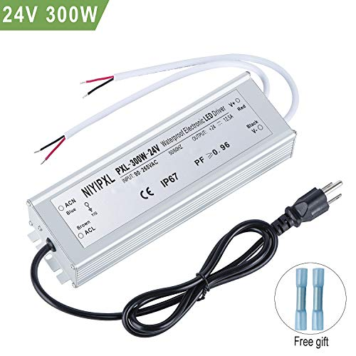 LED Driver 300 Watts Waterproof IP67 Power Supply Transformer Adapter 90V-265V AC to 24V DC Low Voltage Output with 3-Prong Plug 3.3 Feet Cable for LED Light, Computer Project, Outdoor Light