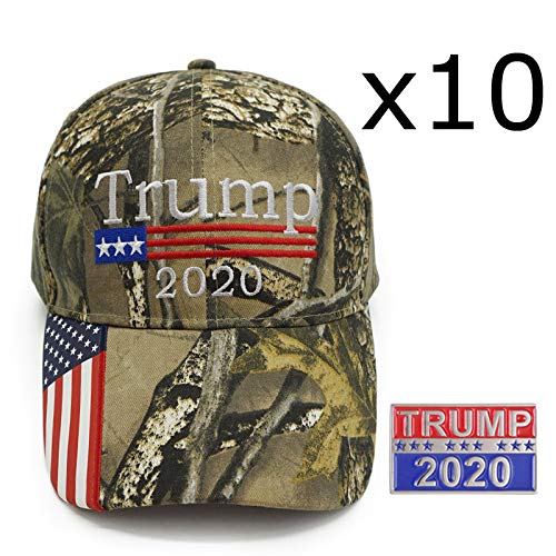 Trump 2020 Pin TW Accessories Trump 2020 Camo Hat and Free Pin MAGA ONE Size Adjustable Camouflage Baseball Cap