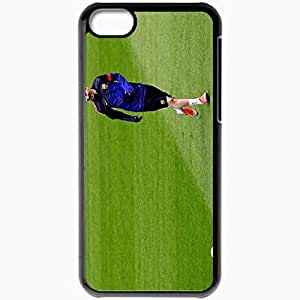 Personalized iPhone 5C Cell phone Case/Cover Skin Lionel Messi Messi Leo FC Barcelona Champions League Ball Black