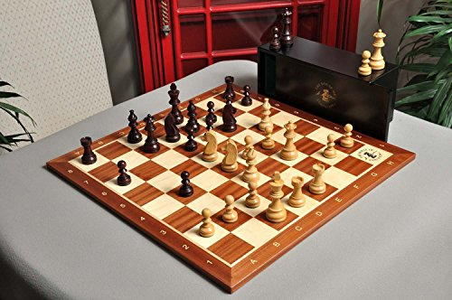 The Championship Series Chess Set, Box, Board Combination - Rosewood Gilded and Natural Boxwood