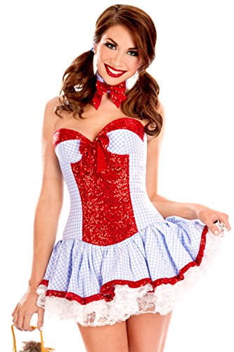 [Adam's Temptation Sweet Kansas Sexy Country Girl Costume Set (One Size)] (Country Dance Costume)