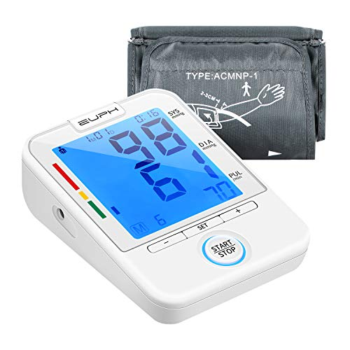 Upper Arm Blood Pressure Monitor Automatic BP Machine FDA Approved with Large Cuff and Large Backlit LCD Display for 2 Users 180 Readings
