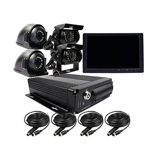 JOINLGO 4 Channel H.264 2.0MP 1080P AHD 2 SD Mobile Vehicle Car DVR MDVR Video Recorder Kit with Night Vision Waterproof Side Front Rear View Car Camera 10 inches VGA Monitor